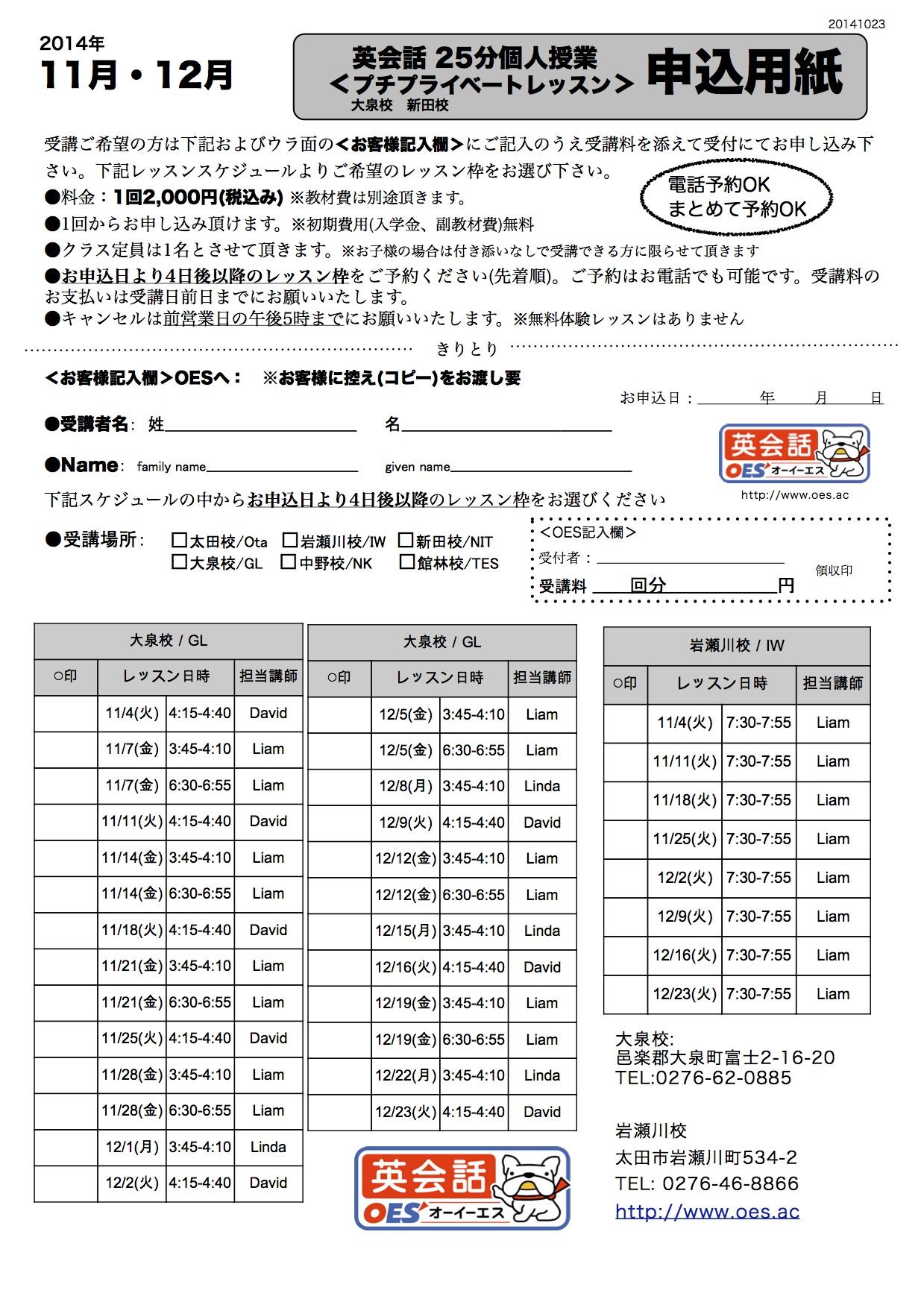 11月12月大泉校&新田校&岩瀬川校 プチプライベートレッスン申込用紙
