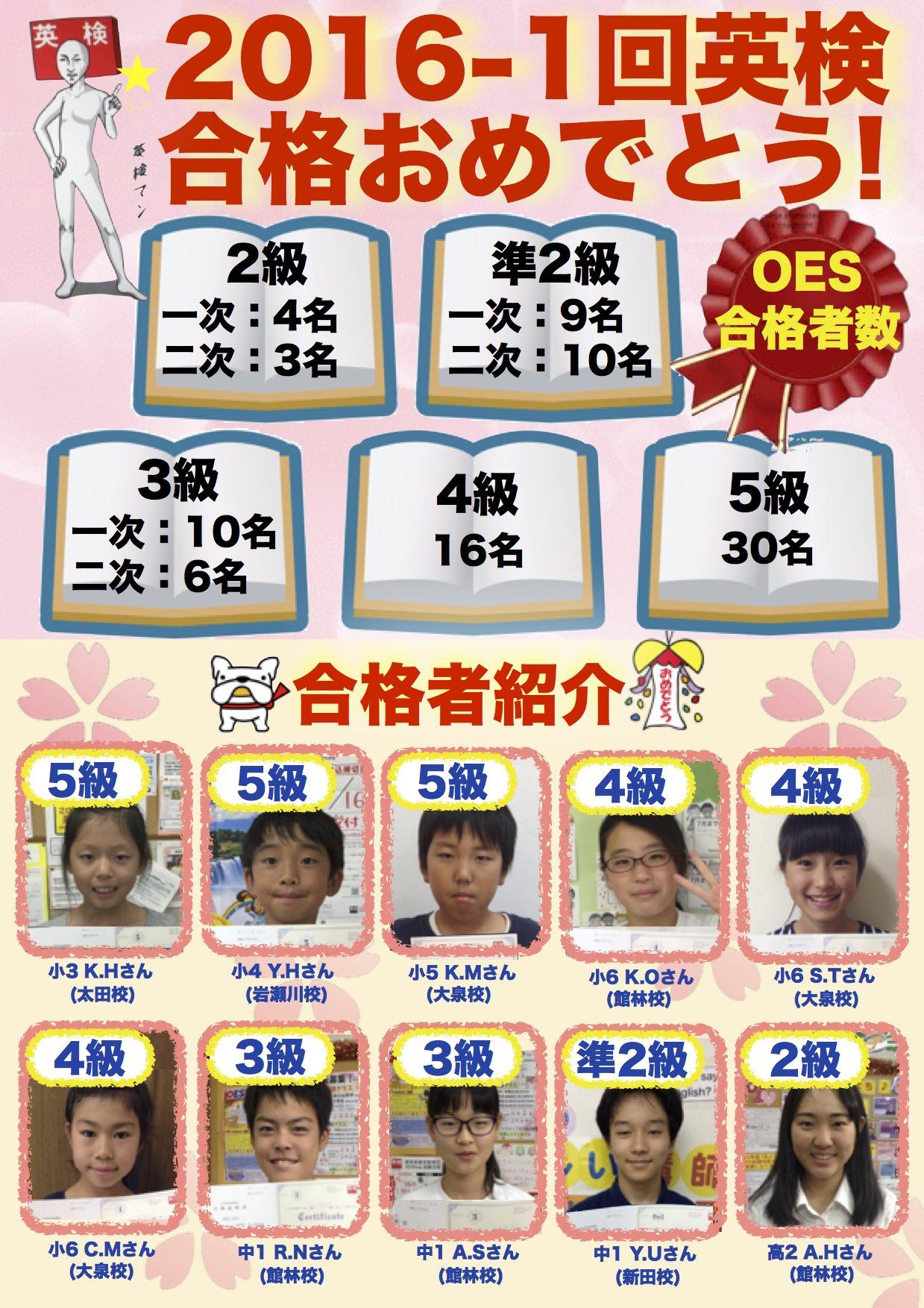 2016-1回英検合格ポスター ① WEB OTA1 IW1 NIT1 GL3 TES4 Kurumi Yuki Kotraro Karin Sawa Chise Ryohei Anna Yukinobu Ayano