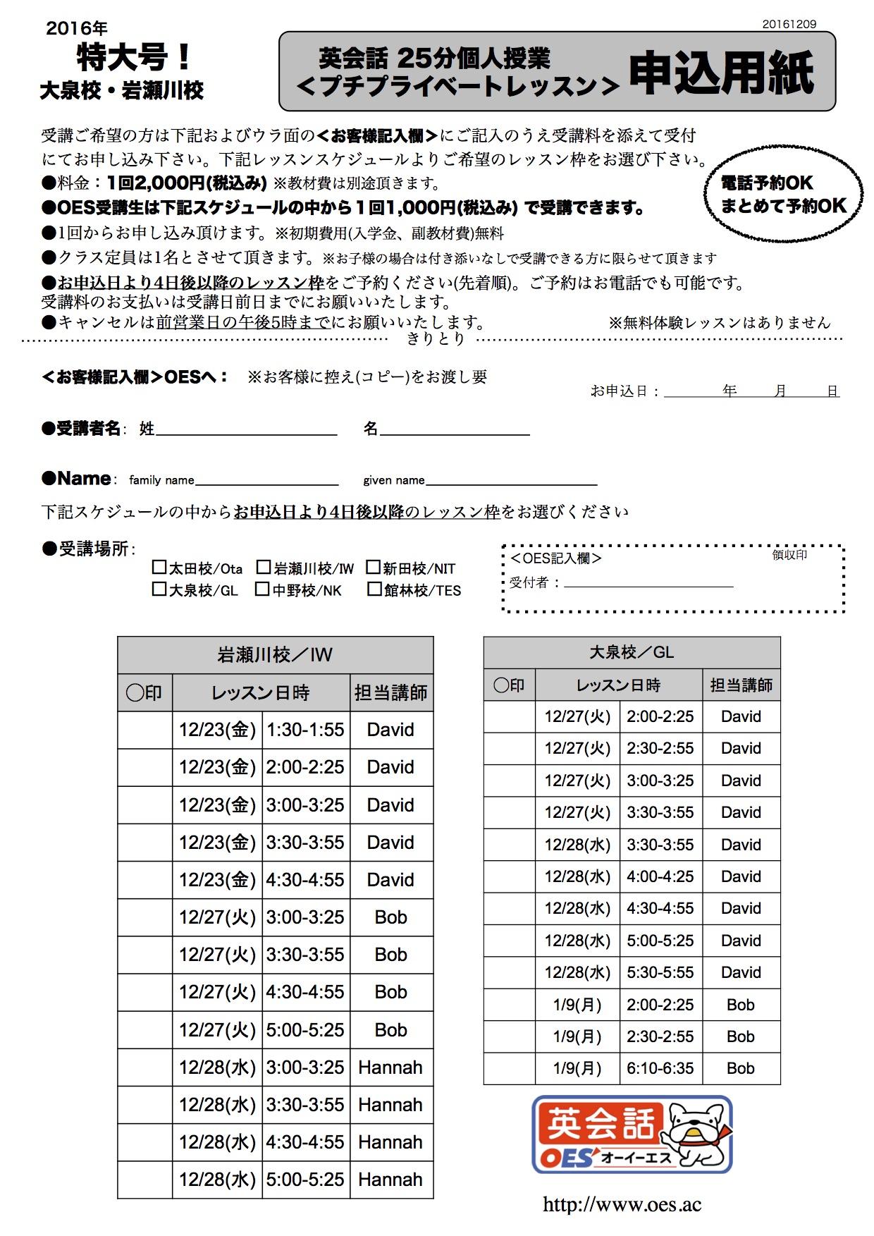 岩瀬川校/大泉校プチプライベートレッスン申込用紙